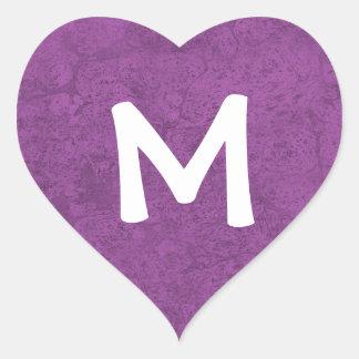 Purple Grunge Damask Monogram M Sticker Gift
