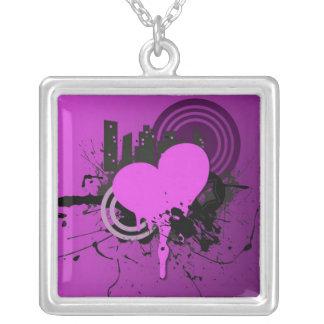 purple grunge heart necklace