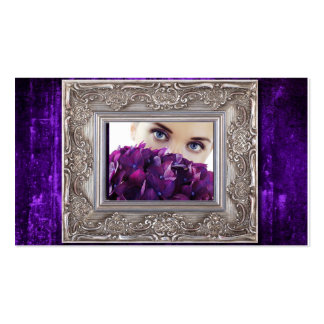 purple grunge picture frame, eyes over hydrangeas business card