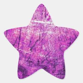 Purple Grunge Steel Star Sticker
