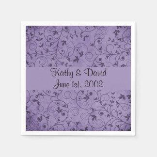 Purple Grungy Floral (Wedding) Disposable Serviette