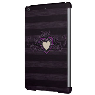 Purple Grungy Stripes Dark Heart