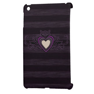 Purple Grungy Stripes Dark Heart Case For The iPad Mini