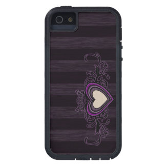 Purple Grungy Stripes Dark Heart Case For The iPhone 5
