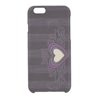 Purple Grungy Stripes Dark Heart Clear iPhone 6/6S Case