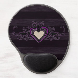 Purple Grungy Stripes Dark Heart Gel Mouse Pad