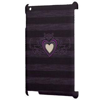 Purple Grungy Stripes Dark Heart iPad Case