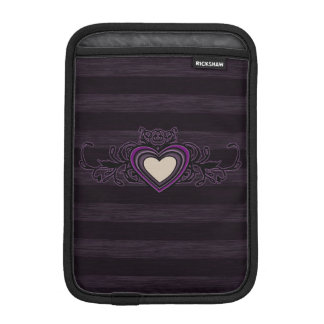 Purple Grungy Stripes Dark Heart iPad Mini Sleeve