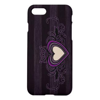 Purple Grungy Stripes Dark Heart iPhone 8/7 Case