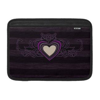 Purple Grungy Stripes Dark Heart MacBook Sleeve