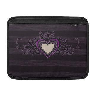 Purple Grungy Stripes Dark Heart Sleeve For MacBook Air