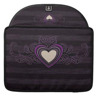 Purple Grungy Stripes Dark Heart Sleeve For MacBooks