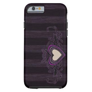 Purple Grungy Stripes Dark Heart Tough iPhone 6 Case