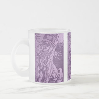Purple Guardian Band Lion and Spiders Frosted Glass Coffee Mug