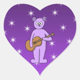 Purple Guitarist Bear. Heart Sticker
