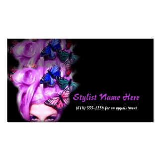 Purple Hair Butterfly Lady Appt 2 Business Cards