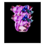 Purple Hair Butterfly Lady  Poster/Print 5