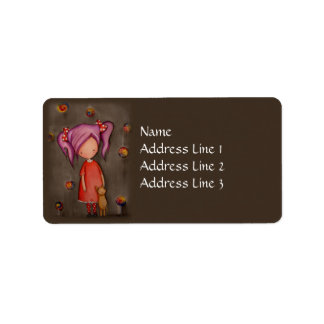 Purple hair little girl with cat Address Label