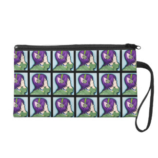 Purple Haired Cat Girl With Headphones Wristlets