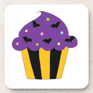 Purple Halloween Bats Cupcake Beverage Coasters