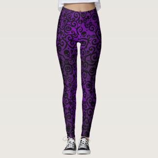 Purple Halloween Damask Leggings