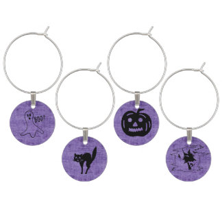 Purple Halloween Set - Witch, Ghost, Cat,  Pumpkin Wine Charm