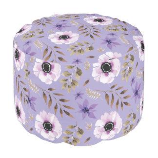 Purple Hand drawn floral botanical pattern Pouf