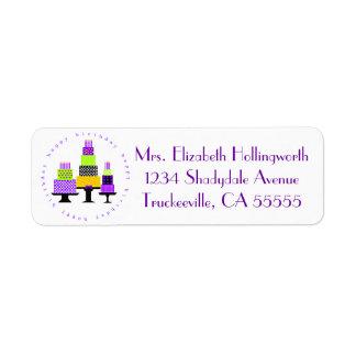 Purple Happy Birthday Cakes- Return Address Label