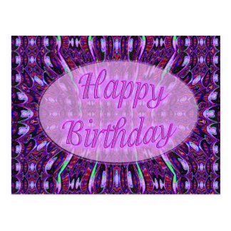 purple happy birthday postcard