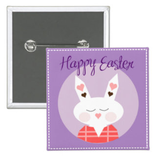 Purple Happy Easter Bunny Buttons