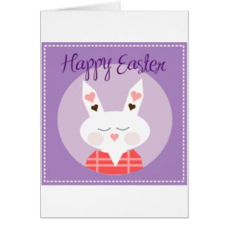 Purple Happy Easter Bunny Greeting Card