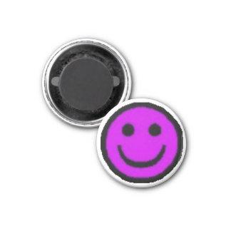 Purple Happy Face Refrigerator Magnet