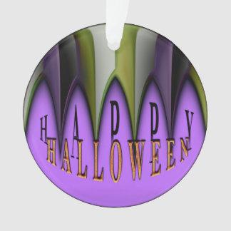 Purple Happy Halloween Striped Fangs Ornament