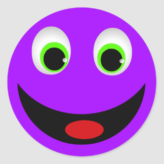 PURPLE HAPPY SMILEY FACE ROUND STICKER
