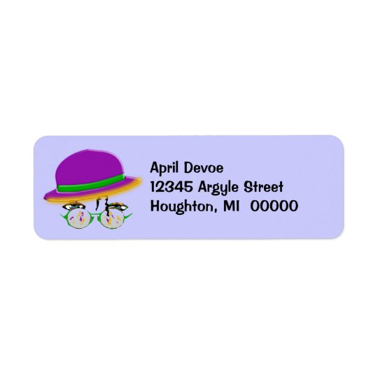 Purple Hat Stylish Smart Jazz Return Address Label
