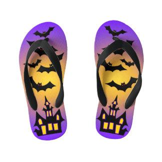 Purple Haunted House and Bats Kid's Thongs