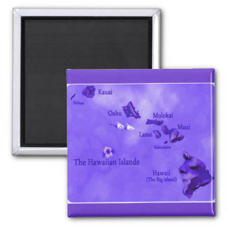 Purple Hawaiian island map Square Magnet