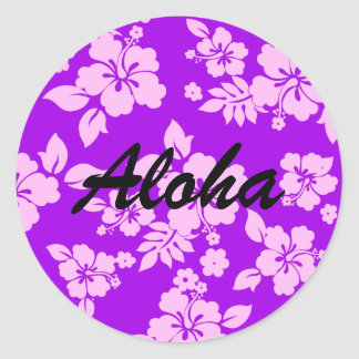 Purple Hawaiian Round Sticker