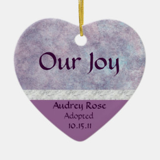 Purple Haze Adoption Heart Ceramic Ornament