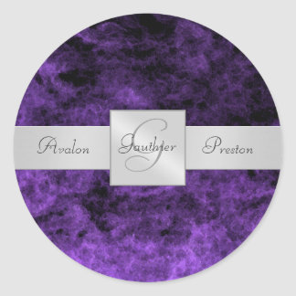 Purple Haze Monogram Wedding Sticker