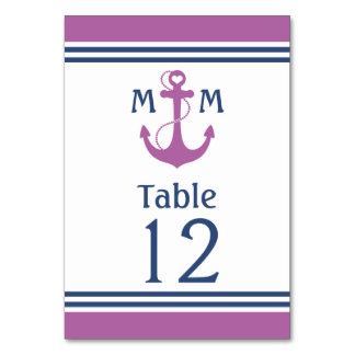 Purple Heart Anchor Nautical Table Number