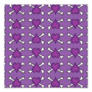 Purple Heart and Crossbones Pattern Photographic Print