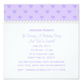 Purple Heart and Pearls Party Invitation