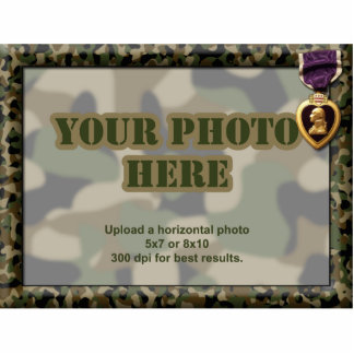 Purple Heart Camouflage Military Frame Photo Sculpture Magnet