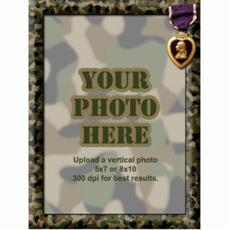 Purple Heart Camouflage Military Frame Standing Photo Sculpture