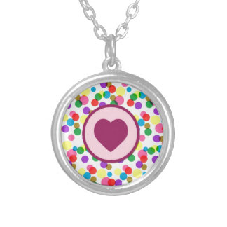 Purple Heart Confetti Color Splashes Polka Dots Pendants