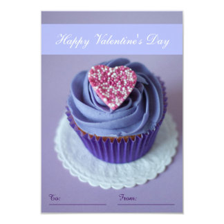 Purple Heart Cupcake Happy Valentine's Day To/From 9 Cm X 13 Cm Invitation Card