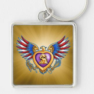 Purple Heart Design Key Ring