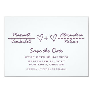 Purple Heart Equation Save the Date Invite
