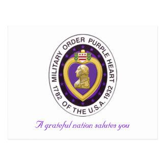 Purple Heart get Well postcard